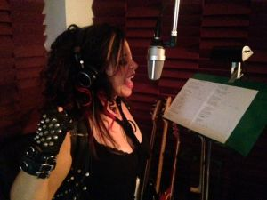 Rock Singer Kelly Maglia Recording in the Studio