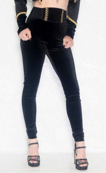 Black Velvet High Waisted Leggings