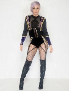 Black Velvet and Lace Victorian Leotard