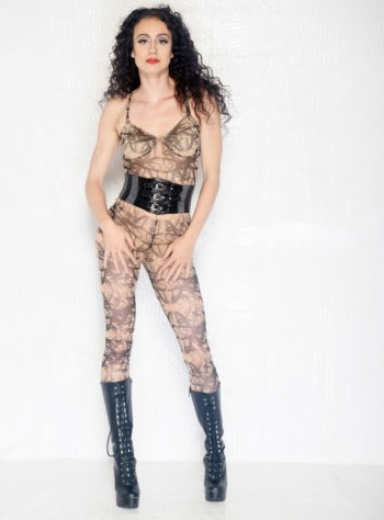 Urban graffiti print catsuit