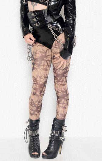 Urban Graffiti Print Rocker Sheer Leggings