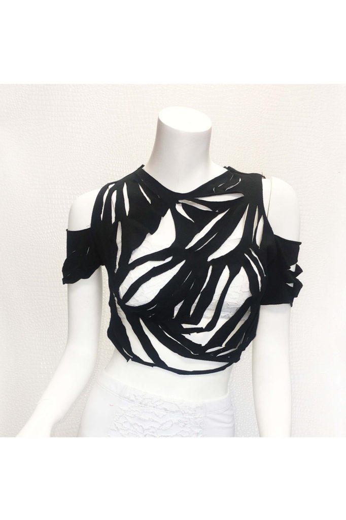 Wicked Widow S Web Shredded Crop Top Kelly Maglia